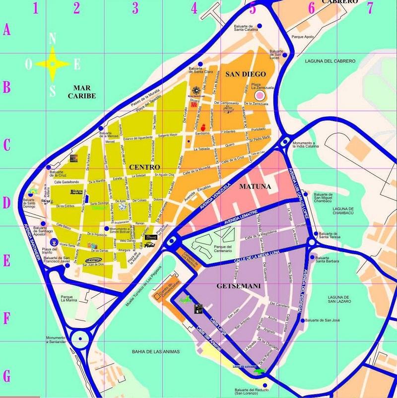 Mapa com os bairros de Cartagena