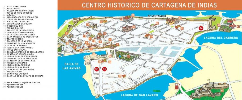 Mapa da Cidade Amuralhadaem Cartagena