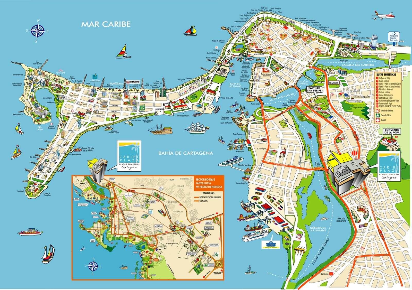 Mapa turístico de Cartagena