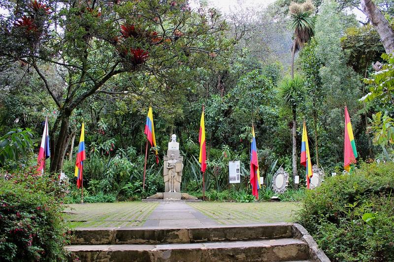 Jardim do Museu Casa Quinta de Bolívar em Bogotá