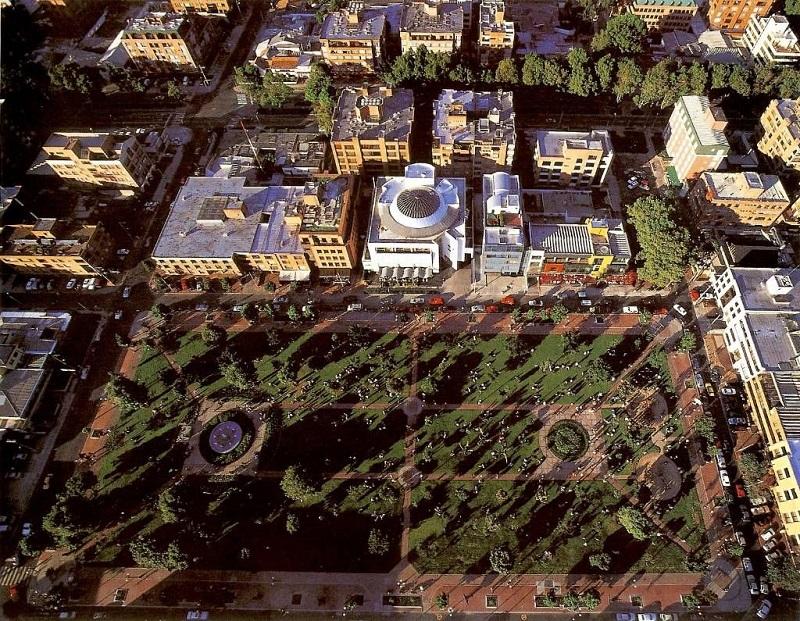 Vista aérea do Park 93 em Bogotá