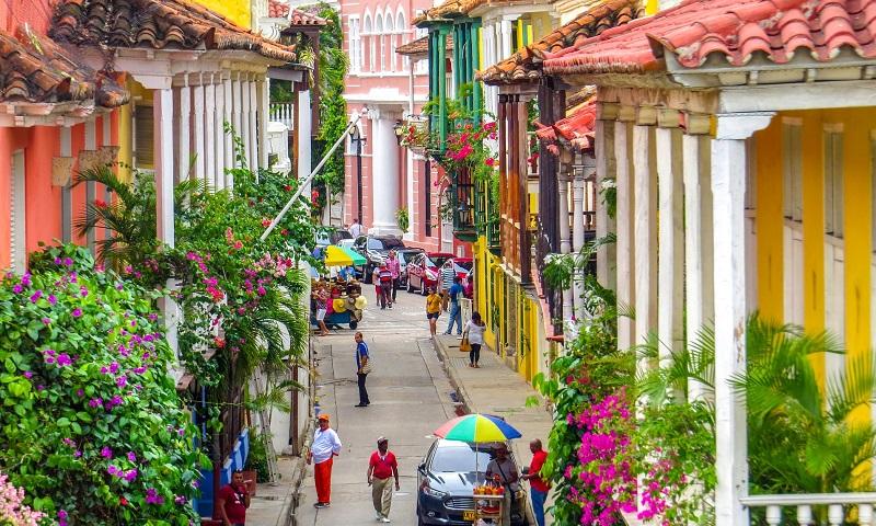 Rua de Cartagena na Colômbia